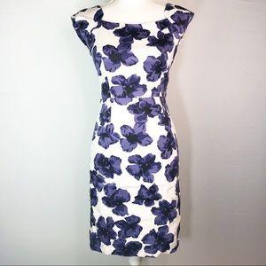 Milly Floral Sleeveless Sheath Dress Purple White